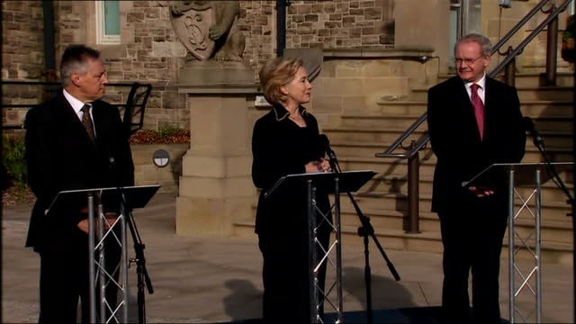 Hillary Clinton Peter Robinson and Martin McGuinness joint press statement NORTHERN IRELAND Belfast Stormont Castle EXT Hillary Clinton Peter...