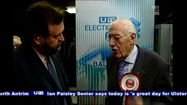 ian paisley interviewed on election night; 27th november 2003 northern ireland: belfast: int reverend ian paisley interview sot - i am the leader of... - democratic unionist party 個影片檔及 b 捲影像