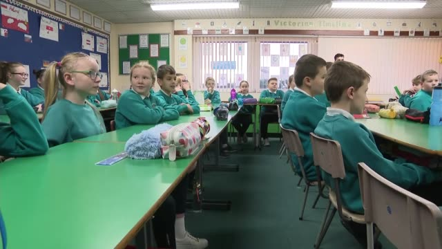 julian smith visits primary school; northern ireland: ulster: craigavon: moira: maghaberry primary school: int **some flash photography** julian... - ulster province stock videos & royalty-free footage