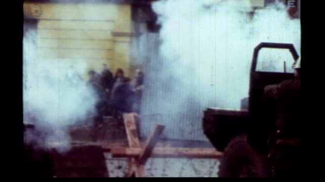 last british armed forces pull out tx londonderry ext colour archive footage of bloody sunday riots soldiers and civilians clash on streets wooden... - derry northern ireland stock videos & royalty-free footage
