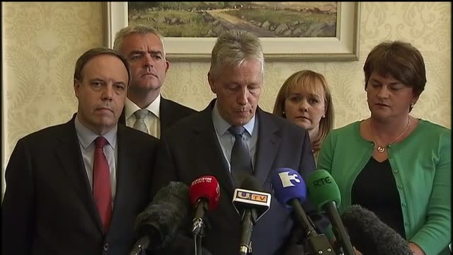 northern ireland leader peter robinson resigns over alleged ira murder northern ireland belfast stormont int peter robinson mla resigning post at... - stormont stock videos and b-roll footage