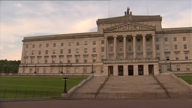 northern ireland leader peter robinson resigns over alleged ira murder northern ireland belfast stormont ext parliament buildings pan - stormont stock videos and b-roll footage