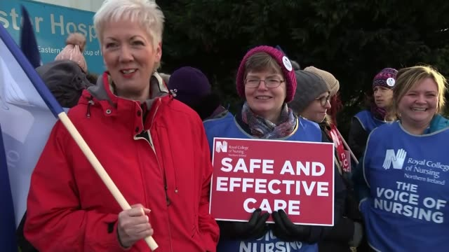 northern ireland main parties agree power-sharing deal; northern ireland: belfast: ext various of striking nurses demonstrating on picket line with... - belfast stock videos & royalty-free footage