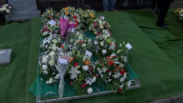martin mcguinness funeral derry city cemetery close shot of martin mcguinness grave with flowers - martin mcguinness stock videos and b-roll footage