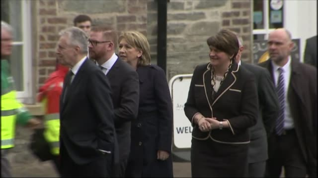martin mcguinness funeral ext arlene foster mla along towards church with peter robinson - martin mcguinness stock videos and b-roll footage