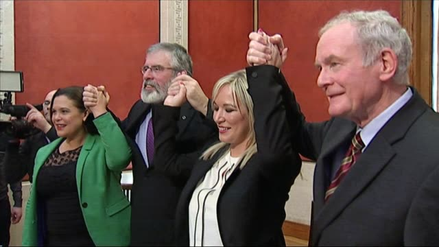 michelle o'neill to replace martin mcguinness as leader of sinn fein northern ireland belfast stormont buildings photography*** michelle o'neill and... - ストーモント点の映像素材/bロール