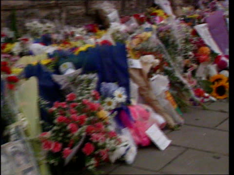 omagh bombing dnat ireland county tyrone omagh line of flowers and bouquets lying against wall pan to cuddly toys bv someone placing more flowers on... - cute stock videos & royalty-free footage