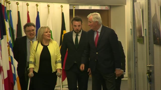 northern ireland party leaders call for clarity on brexit border deadlock during talks in brussels belgium brussels european commission photography**... - legislator stock videos & royalty-free footage