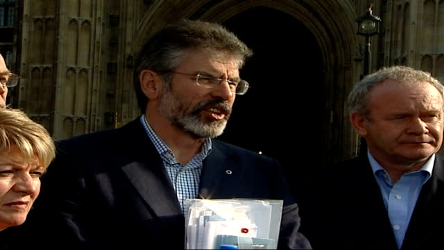 northern ireland peace process: gerry adams / martin mcguinness press conference; martin mcguinness press conference sot - the eleven plus is gone /... - democratic unionist party 個影片檔及 b 捲影像