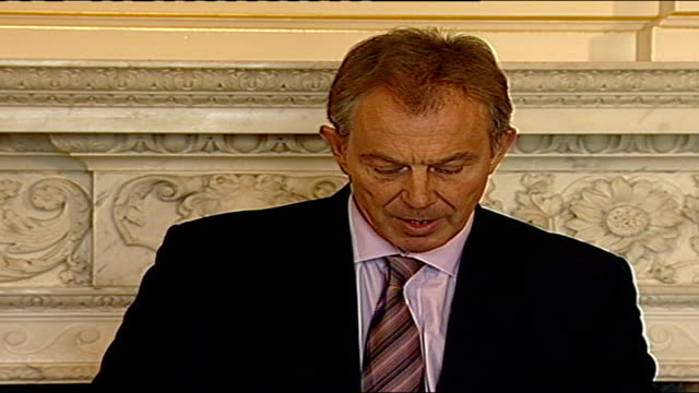 independent monitoring commission report says ira has ceased its terrorist operations england london int prime minister tony blair press conference... - persuasion stock videos and b-roll footage
