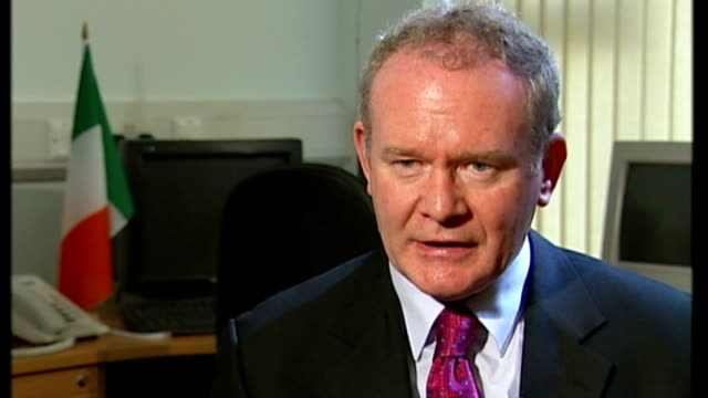 sinn fein vote on endorsing policing dissident voices speak out int martin mcguinness mp interview sot obviously unity is under some attack by... - martin mcguinness stock videos and b-roll footage