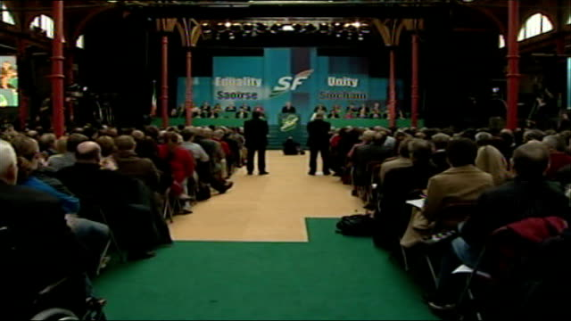 sinn fein votes in favour of policing int conference hall as seated delegates clap martin mcguinness speech sot they want a resounding no so let us... - martin mcguinness stock videos and b-roll footage