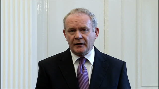 police investigation into ronan kerr death continues belfast stormont int wide view press conference martin mcguinness mp mla press conference sot... - martin mcguinness stock videos and b-roll footage