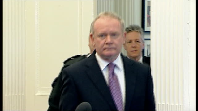 police investigation into ronan kerr death continues northern ireland belfast stormont photography ** martin mcguinness mp mla arriving at press... - martin mcguinness stock videos and b-roll footage