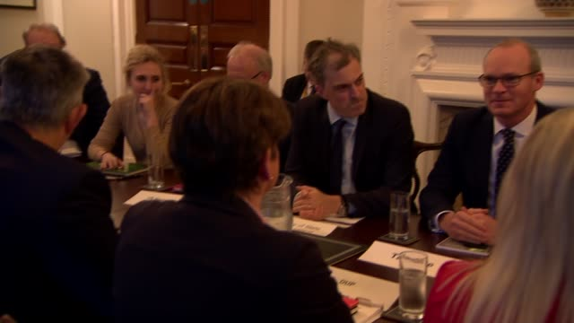 political roundtable talks in belfast northern ireland belfast stormont estate photography** northern ireland politicians including arlene foster... - round table discussion stock videos & royalty-free footage