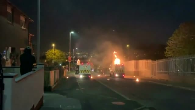 northern ireland power sharing talks to resume after two years 1842019 derry ext police vehicles parked in road as petrol bomb explodes - exploding stock videos & royalty-free footage