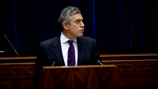 prime minister gordon brown's speech to the northern ireland assembly northern ireland belfast stormont faults * * gordon brown mp speech sot it is... - stormont stock videos and b-roll footage
