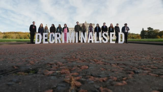 pro and antabortion protests outside stormont northern ireland belfast stormont ext prochoice abortion protesters standing outside stormont with... - abortion stock videos & royalty-free footage