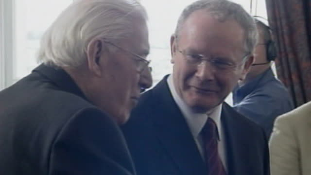 real ira claims responsibility for killing british soldiers lib ireland belfast stormont int martin mcguinness mla smiling and joking with dr ian... - バーティ アハーン点の映像素材/bロール
