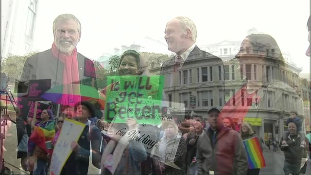 northern ireland samesex marriage and abortion amendments backed by mps in westminster lib / tx belfast stormont ext group of people including laura... - ストーモント点の映像素材/bロール