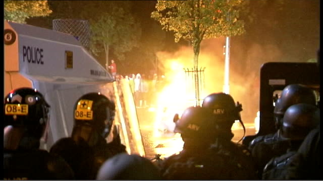 seven police officers injured after second night of rioting over orange order march route northern ireland belfast loyalist demonstrator throwing... - water cannon stock videos and b-roll footage