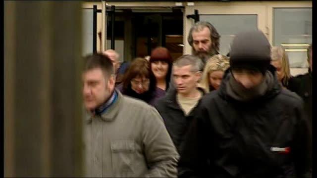 brian shivers found guilty northern ireland county antrim antrim crown court photography** various shots of colin duffy leaving court with family... - acquittal stock videos and b-roll footage
