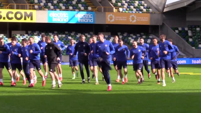 northern ireland team training including manager michael o'neill jonny evans aaron hughes gareth mcauley craig cathcard conor mclaughlin paddy mcnair... - belarus stock videos & royalty-free footage