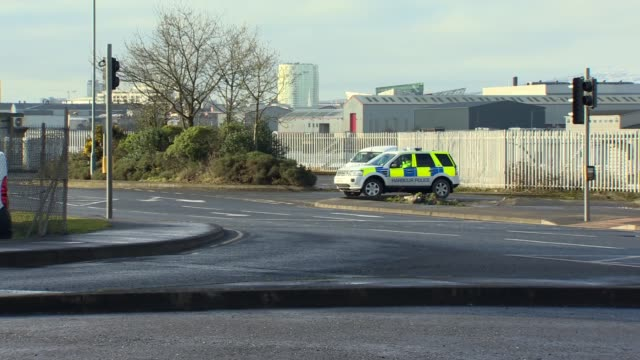 Theresa May visits Bombardier NORTHERN IRELAND East Belfast Bombardier EXT GVs Police bikes / GVs Theresa May MP car arrives / GVs Police officers /...