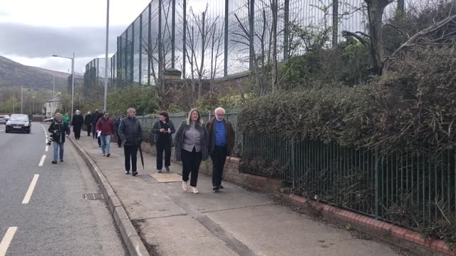 northern ireland unrest members of the clergy at the peace gates on lanark way in belfast following an ecumencial service in response to the recent... - new stock videos & royalty-free footage
