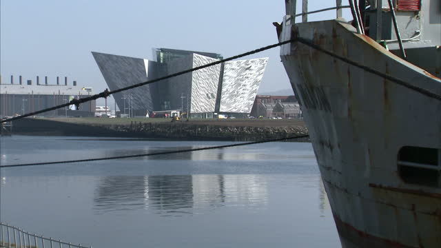 northern ireland's largest ever visitor attraction opens its doors to the public today. titanic belfast coincides with the 100th anniversary of the... - belfast stock videos & royalty-free footage