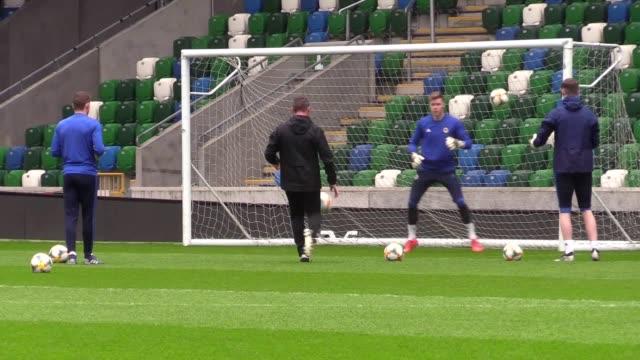 Northern Ireland's national football team train ahead of their Euro 2020 qualifier against Estonia