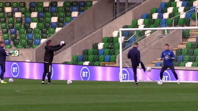 northern ireland's national team train ahead of their euro 2020 qualifier against holland. the upcoming match is likely to be michael o'neill's final... - national team stock videos & royalty-free footage