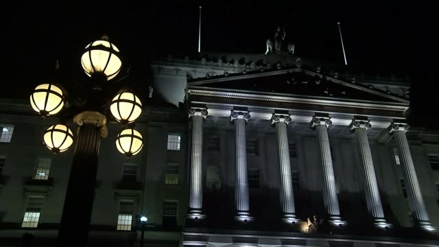 northern irelend election to be held following collapse of power sharing government; northern reland: belfast: stormnt: ext / night illuminated... - ireland stock videos & royalty-free footage