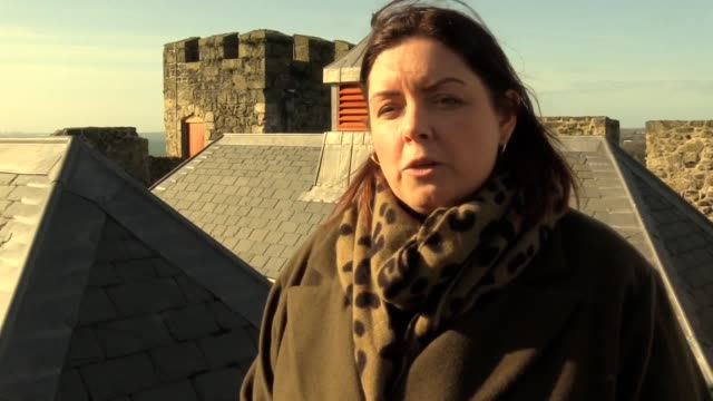 northern irish minister for communities deirdre hargey said she is delighted to see carrickfergus castle's new roof at the reopening of the landmark... - fortress stock videos & royalty-free footage