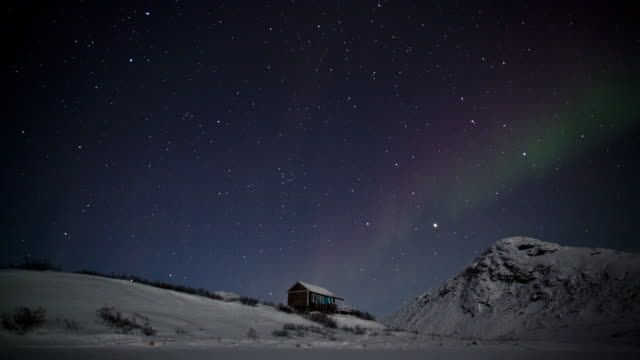 northern light in greenland - clima polare video stock e b–roll
