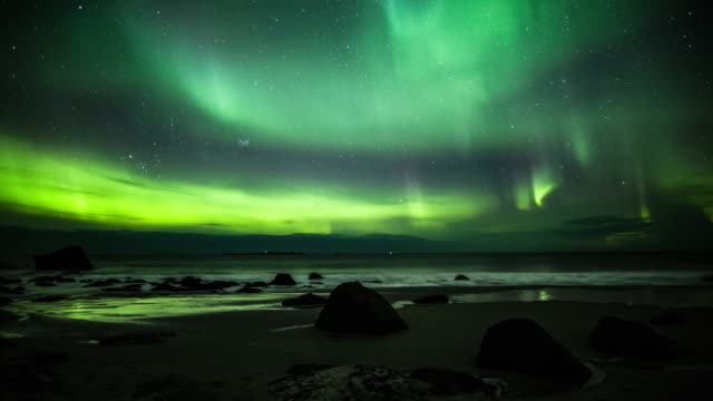 northern lights - aurora borealis in norway - ethereal stock videos & royalty-free footage
