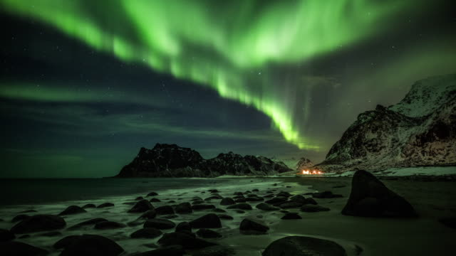 northern lights - aurora borealis - ethereal stock videos & royalty-free footage