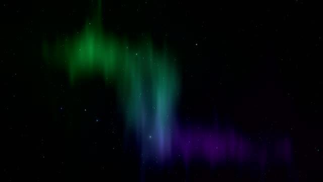 vídeos de stock e filmes b-roll de northern lights background with stars - nebulosa