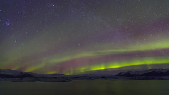 Northern lights, Jokulsarlon glacier lagoon, Vatnatjokull glacier, South Iceland, Iceland, Europe