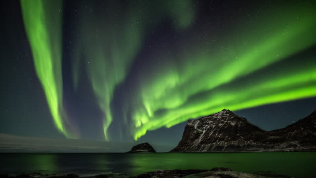 northern lights over arctic ocean - atmospheric mood stock videos & royalty-free footage