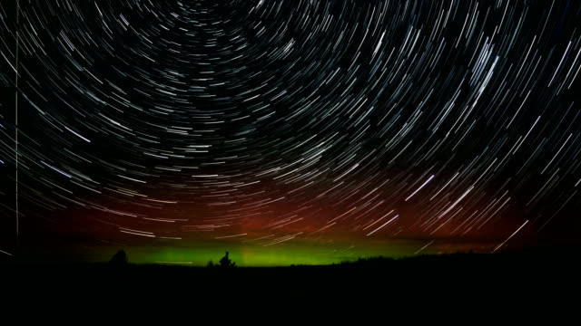 Northern Lights Over Steens Mountain Plain in Oregon Abstract Star Trails Night Time Lapse