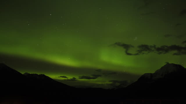 northern lights over the  chugach national forest, alaska. - chugach national forest stock videos & royalty-free footage