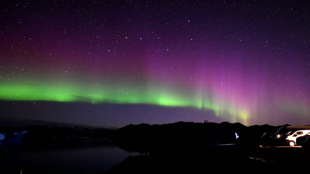 northern lights over the glacier lagoon - sensory perception stock videos & royalty-free footage