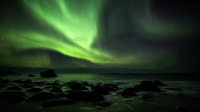 northern lights over the lofoten islands in norway - aurora borealis stock videos & royalty-free footage