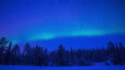 Northern Lights over the Winter Forest. Time Lapse