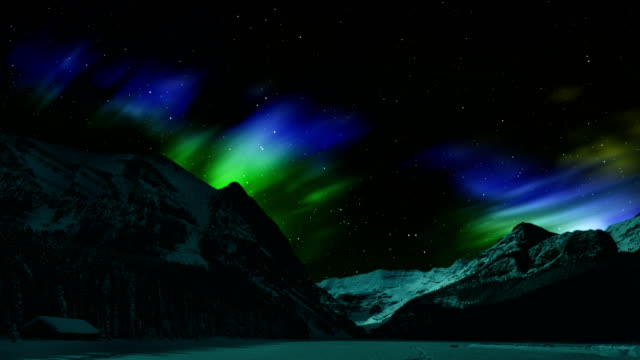 northern lights over the winter mountain - time lapse aurora borealis (northern lights) - whitehorse stock videos and b-roll footage