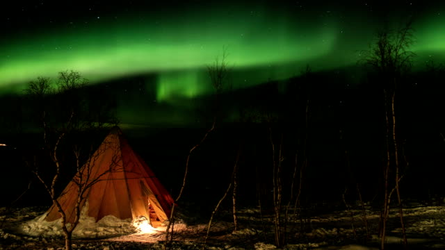northern lights, sweden - svezia video stock e b–roll