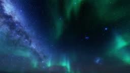 Northern lights timelapse against starry sky, 4K