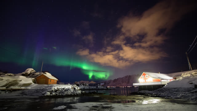 time lapse: northern lights - north stock videos and b-roll footage