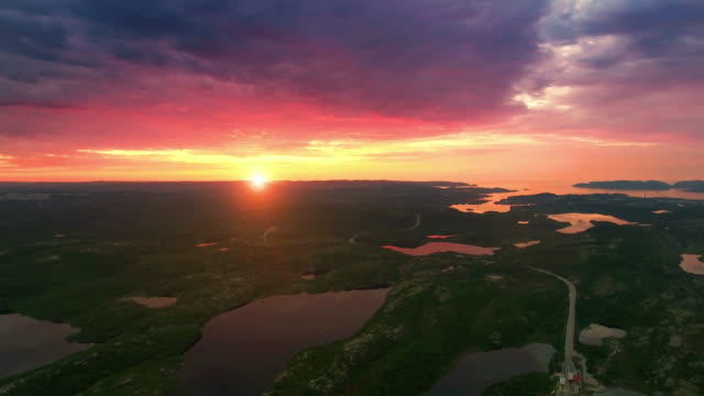 northern nature - the sunset on the lake - finlandia video stock e b–roll